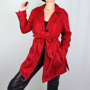 Cherry red silk short trench jacket